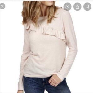 Lucky Brand Ruffled Long Sleeve Cotton Sweater M